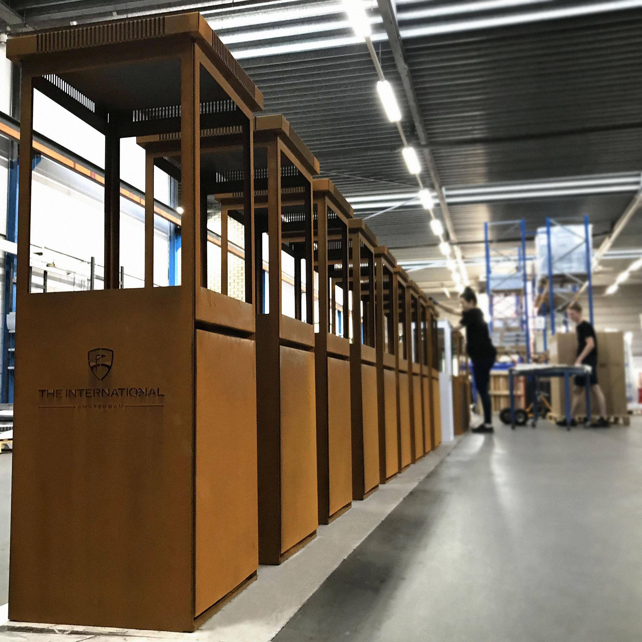 Marino Premium Cortenstaal buitenhaard in de werkplaats