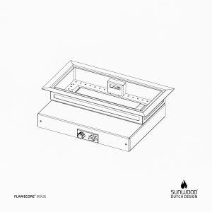 Tekening van Flamecore inbouwbrander voor vuurtafel